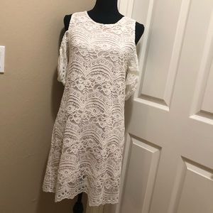 NWT Ivory Lace, Cold Shoulder Dress